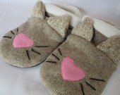Cat Face Wool Slippers - Ladies Large Sizes 9-10