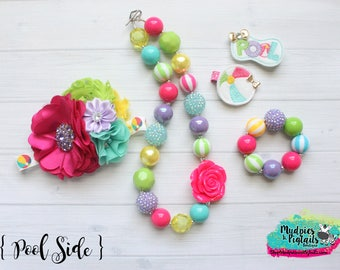 summer chunky necklace or baby headband { Pool Side } beach, hot pink, lavender, yellow lime rainbow headband, 1st Birthday photography prop