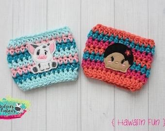 Polynesian Crochet Cup Cozy { Hawaiian Fun }  Pua Pig, Moana Princess, tsum tsum inspired, park essential summer, starbucks cup mug sweater