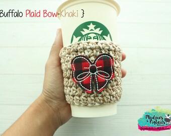 Christmas Coffee Cozy { Buffalo Plaid Bow } cream beige, red black cup holder, coffee sleeve, hot cocoa, mug sweater, tea cup, planner girl