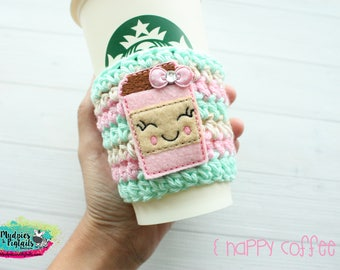 Crochet Coffee Cup Cozy { Happy coffee } mint pink, kawaii coffee sleeve, knit mug sweater starbucks water bottle, frapuccino