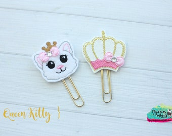 Planner Clip { Queen Kitty } princess crown, cat, mint, gold Paper Clips, Stationary, Planner Supplies, gift, parade, party