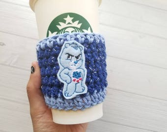 Care Bears coffee cozy{ Grumpy Bear } Crochet Cup sleeve, blue glitter, 80's baby, cartoon character knit mug sleeve, happy, gift