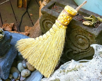 Turkey Wing Broom in your choice of Natural, Black, Rust or Mixed Broomcorn - Hand Broom - Traditional Shaker Style Broom