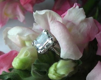 ON SALE, 10% OFF Alternative Engagement Ring, Prasiolite Ring in 18k White Gold,Right Hand Ring/E Ring, Ready to Ship