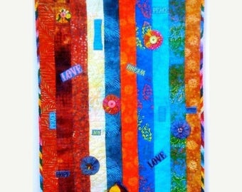 Summer sale Swimming Upstream, Number 5, 19 x 39 inch art quilt