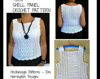 Women's Crochet Pattern - Pullover Sleeveless Sweater - Shell Top, PDF download, #2030, S, M. L