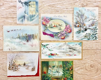 7 Vintage Christmas Cards with Winter Scenes, Midcentury Cards, 1954s-1960s Christmas Cards Snow Scenes #1