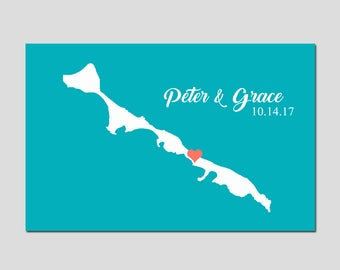 Wedding Gift Atlantis Bahamas Wedding Decor Personalized Anniversary Gift Alternative Wedding Guestbook Wedding Print - CHOOSE YOUR COLORS