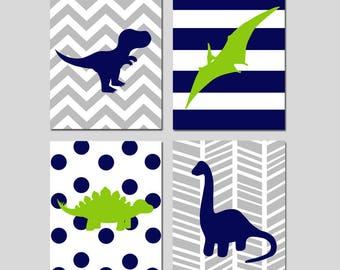 Dinosaur Nursery Decor Dinosaur Nursery Art Dinosaur Decor Dinosaur Wall Art Dinosaur Print Set of 4 Dinosaur Prints - CHOOSE YOUR COLORS
