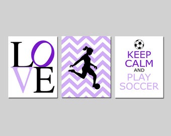 Girl Soccer Gifts Girl Soccer Decor Girl Soccer Art Soccer Room Decor Soccer Wall Art Set of 3 Soccer Prints for Girl - CHOOSE YOUR COLORS