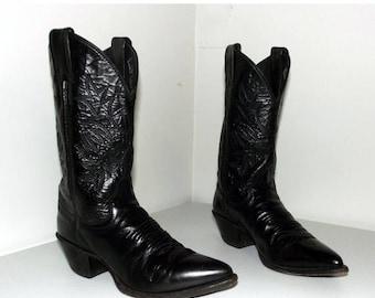 Black on Black Leather Western Cowboy Boots size 5.5 B
