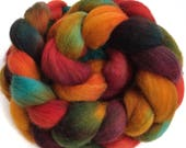 Organic merino, hand dyed, spinning fiber, top, roving, 'Sunset Over The Sahara', 4 oz.