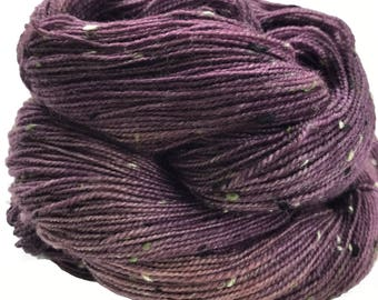 "Donegal tweed yarn, hand dyed, fingering weight, 438 yds, 2 ply, eggplant purple, ""Aisling"",  BFL and nylon blend"