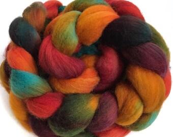 Organic merino, hand dyed, spinning fiber, top, roving, 'Sunset Over The Sahara', 4 oz.
