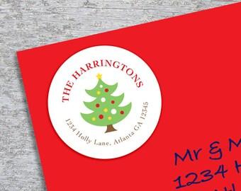 Personalized Christmas Address Label - DIY Printable - 2 Inch Circle - Christmas Tree (Digital File)