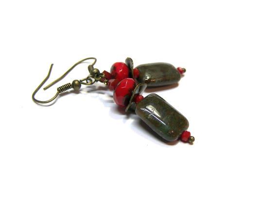 African Onyx Gemstone Earrings Red Earrings Picasso Red Czech Earrings Modern Boho Top Selling Jewelry gift for her