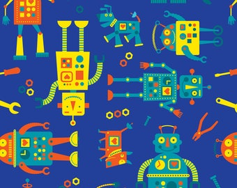 Robots Fabric - Robots By Edward Elementary - Robots Nursery Decor Cotton Fabric By The Yard With Spoonflower