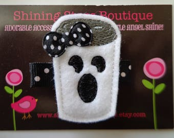 Girls Hair Accessories - Felt Hair Clips - White And Black Halloween Spooky Ghost Hot Chocolate Or Coffee Drink Felt Hair Clippie