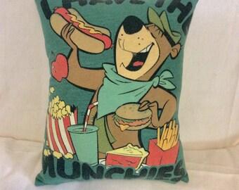 Yogi Bear Pillow, Accent Pillow, Decorative Pillow, Throw Pillow, Bed Pillow, Chair Pillow, Sofa Pillow, Couch Pillow, Green Pillow, Gift