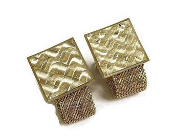 Etched Gold Tone Cuff Links Vintage Mesh for Men signed Anson