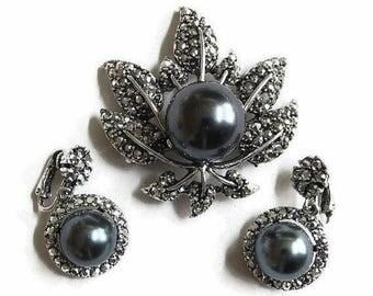 SALE Marcasite Leaf Brooch and Dangle Earrings Set Hematite Glass Pearl Vintage