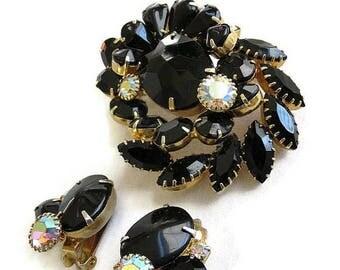 SALE Black & Aurora Borealis Rhinestone Brooch and Earrings Set Vintage