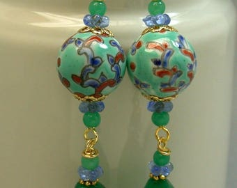 Vintage Chinese Porcelain Turquoise Bead Dangle Drop Earrings, Emerald Green Glass Beads, Vintage Blue Glass Flower Beads, Gold Ear Wires