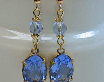 Vintage Swarovski Sapphire BLUE Crystal Bead Earrings Dangle Drop  - Crystal Glass Cabochon,Gold Ear Wires -GIFT WRAPPED