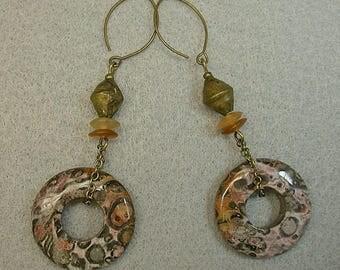 Vintage Leopard Skin Jasper Donut Dangle Drop Bead Earrings, Vintage Handmade African Brass Bead,Vintage Buffalo Horn, Brass Chain