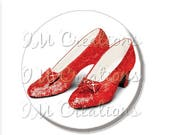 "50% OFF - Pocket Mirror, Magnet or Pinback Button - Wedding Favors, Party themes - 2.25""- Wizard of Oz Ruby Red Slippers MR411"