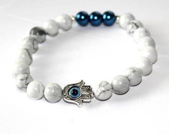 25% OFF - Natural Stone White Howlite Bracelet / 8mm beads with Silver hamsa hand blue eye Spacer / Gemstone Bracelet / Yoga Bracelets / Men
