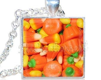 "20% OFF - Halloween Candy Corn Pattern 1"" Square Glass Pendant or with Necklace - SQ179"