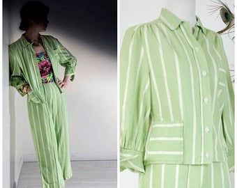 Memorial Weekend Sale - Vintage 1940s Pantsuit  - Summer 2017 Lookbook - The Daquiri Afternoon Suit - Rare Lime Green Striped Denim Two Piec