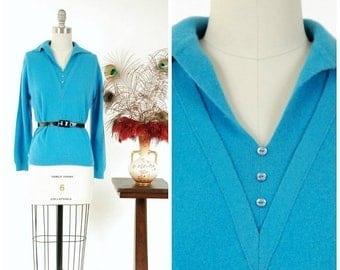 Memorial Weekend Sale - Vintage 1960s Sweater - Soft Teal Blue Pullover Early 60s Sweater with Deep V Button Detailing
