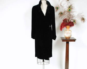50% CLEARANCE Vintage 1920s Coat - Plush Black Silk Velvet 20s Coat with Fabulous Shirred Collar and Sleeves