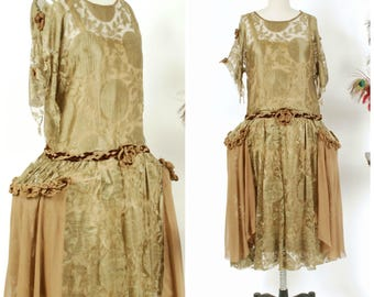 Vintage 1920s Dress - Autumn 2017 Lookbook - The Demeter Dress - Exquisite and Rare 20s Robe de Style with Golden Silk Lace and Chiffon