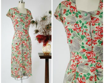 1940s Vintage Dress - Sensational Rose Floral Novelty Print Cold Rayon 40s Dress with Chinese Lanterns and Mint Green Background