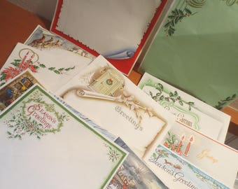 Vtg Christmas Stationary / 13 different Pages / Christmas Craft / Vintage Christmas Graphics / All Different Designs
