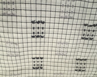 Vtg Sheer Fabric / Black White Gray Sheer Fabric / 1960s Retro Print Fabric / Lightweight shirt fabric / 4.5 yards