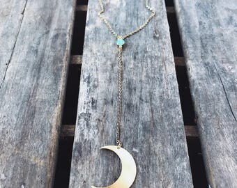 Moon Tassel Lariat Y Necklace