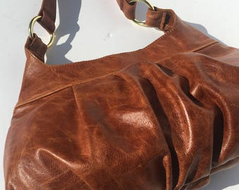 Honey Brown Pleated Leather Hobo Purse