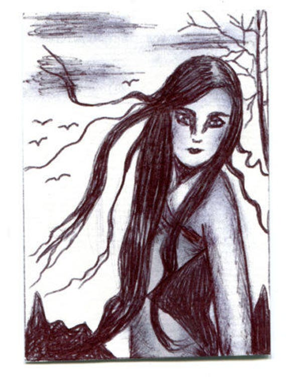 windy day hair woman sketch Aceo drawing ORIGINAL art ink illustration art ACEO art card ATC artist trading card