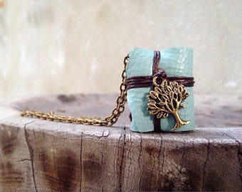 S. A. L. E 50% MiniatureBook Necklace Tree & mint Blue leather