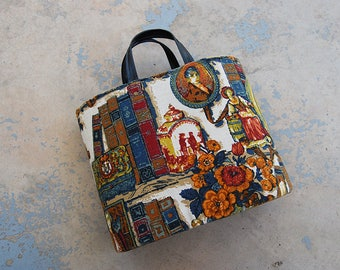 vintage 1960s Tapestry Purse - 60s Extra Large Tapestry Bag Hard Sided Tote Bag Toile Handbag