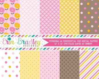 80% OFF SALE Digital Scrapbook Papers Personal and Commercial Use Pink Orange and Brown Medley Instant Download