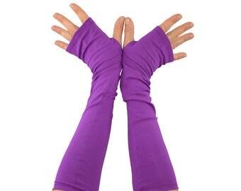 Arm Warmers in Purple Crocus - Cotton Fingerless Gloves