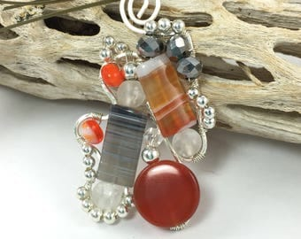 Wire Weave, Free Form Wire Wrapped Agate Pendant Necklace, Orange and Gray, Wire Wrap Gemstone Jewelry, Healing Jewelry, Abstract Freeform