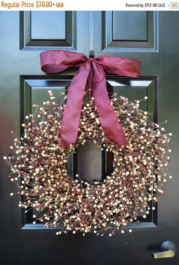 SUMMER WREATH SALE Berry Wreath- All Year Wreath-Christmas Decor- Autum Wreath- Burgundy Wreath- Autumn Wreath- Year Round Wreath- All Seaso