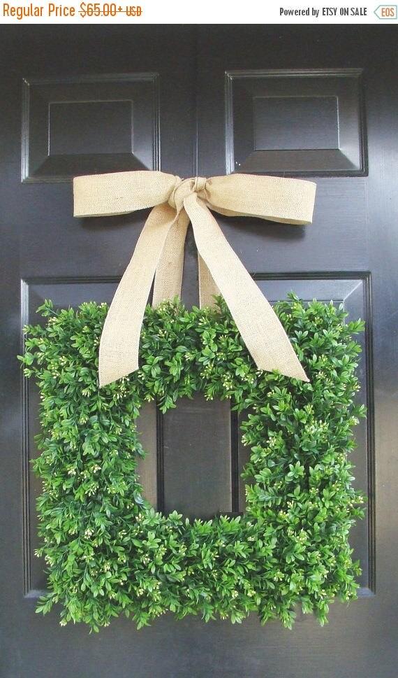 SUMMER WREATH SALE Square Boxwood Wreath, Square Summer Wreath, Burlap Bow, Outdoor Spring Wreath, Housewarming Gift, Wedding Wreath 20 Inch